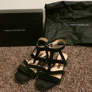 French Connection Black Suede Kristen Sandals